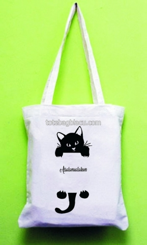 tote bag blacu goodie bag sablon kucing